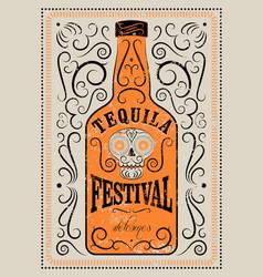 typographic retro grunge tequila festival poster vector image