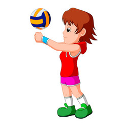 Young girl volleyball player vector