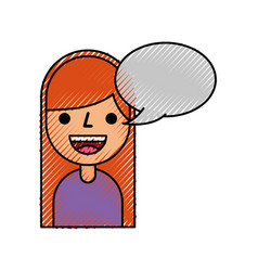 cartoon girl happy with bubble speech vector image