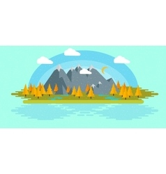 Flat design nature landscape with sun vector image