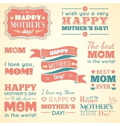 Happy Mothers day Set of cute elements vector image