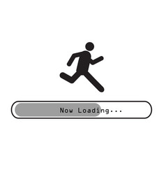 sign man running on loading bar vector image vector image