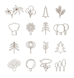 Thin line Tree Set vector image vector image