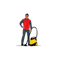 Cleaning service sign Man with a vacuum cleaner vector image vector image