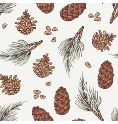 Hand drawn wreath and pine cone winter seamless vector image