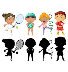 Kids doing different sports set with silhouette vector image vector image