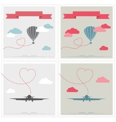 Set of retro cards with aerostat and plane flying vector image