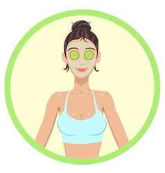 women with cosmetic mask on faces vector image