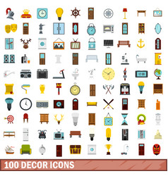 100 decor icons set flat style vector image
