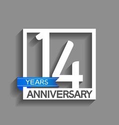 14 years anniversary logotype with white color vector