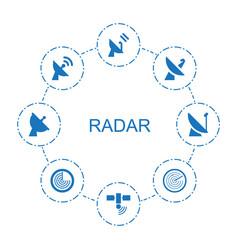 8 radar icons vector