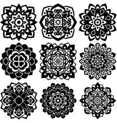 9 mandala ornaments vector image