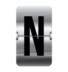 Alphabet silver flipboard letters n vector