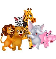 Animals cartoon posing vector image