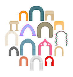 arch icons set flat style vector image