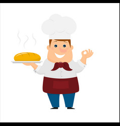 Baker with bread vector