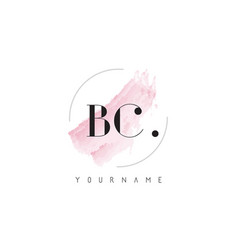 bc watercolor letter logo design with circular vector image