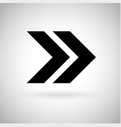 Black double arrow fast forward or next icon vector
