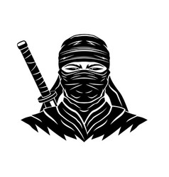 black ninja sign with a sword vector image