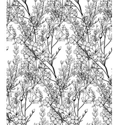 black seamless pattern with drawn flowers vector image