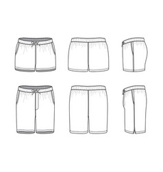 Blank clothing templates of swimming shorts vector