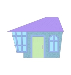 Blue cottage icon cartoon style vector