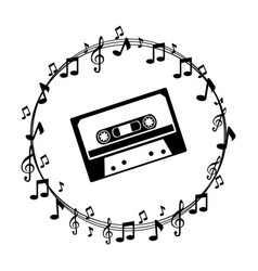 Border musical notes with cassette tape vector