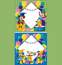 border template with clowns in circus vector image