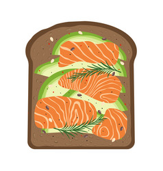 breakfast with salmon and toast vector image
