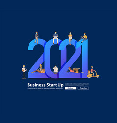 business people working together 2021 new year vector image