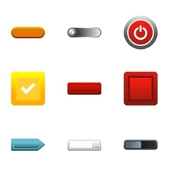 Button types icons set flat style vector