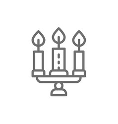 candlestick chandelier with candles line icon vector image