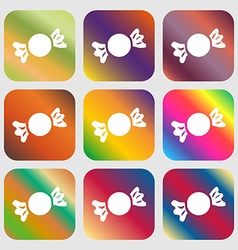 Candy icon sign nine buttons with bright gradients vector