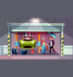 Car garage mechanic and client interior vector
