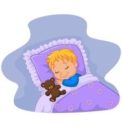 Cartoon baby sleeping with teddy bear vector image