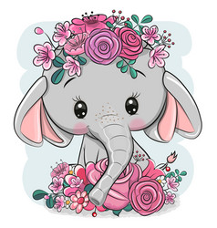 Cartoon elephant with flowers on a white vector