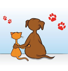 Cat Dog Friends vector image
