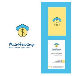 cloud dollar creative logo and business card vector image