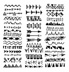 Collection of handdrawn borders in ethnic style vector