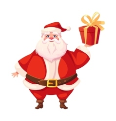 Colorful flat santa holding christmas gift box vector