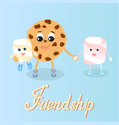 cookie and marshmallow friendship friends day vector image