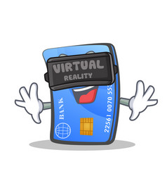 Credit card character cartoon with virtual reality vector