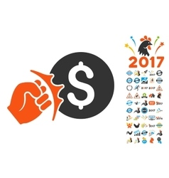 Crime Racket Icon with 2017 Year Bonus Pictograms vector