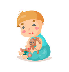 Cute cartoon baby sitting and plying with his vector