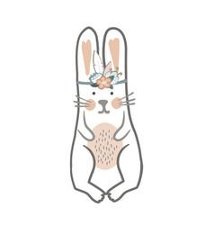 cute cartoon bunny girl in floral wreath childish vector image