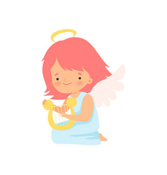 Cute girl angel with nimbus and wings playing harp vector