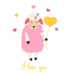 Cute sheep in love with heart balloon vector