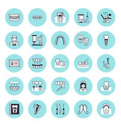 dentist orthodontics flat line icons vector image