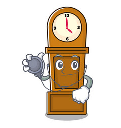 doctor grandfather clock character cartoon vector image
