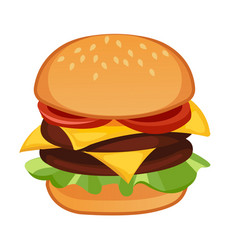 double meat hamburger vector image